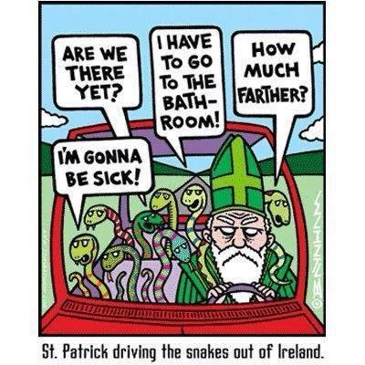 Patrick drives the snakes out of Ireland